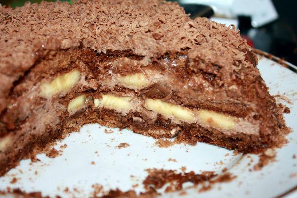 Шоколадный торт с банановой прослойкой