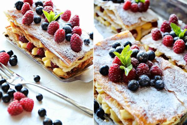 Пирожное Мильфей с ягодами