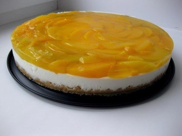 Персиковый чизкейк с желатином