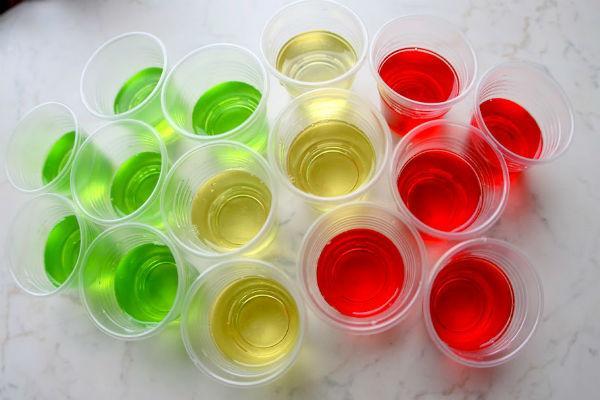 Разноцветное алкогольное желе
