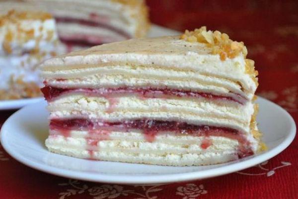 Блинный торт с вишней 3
