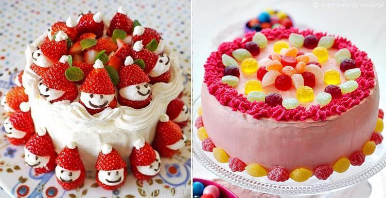 Варианты украшения детских тортиков фруктами.