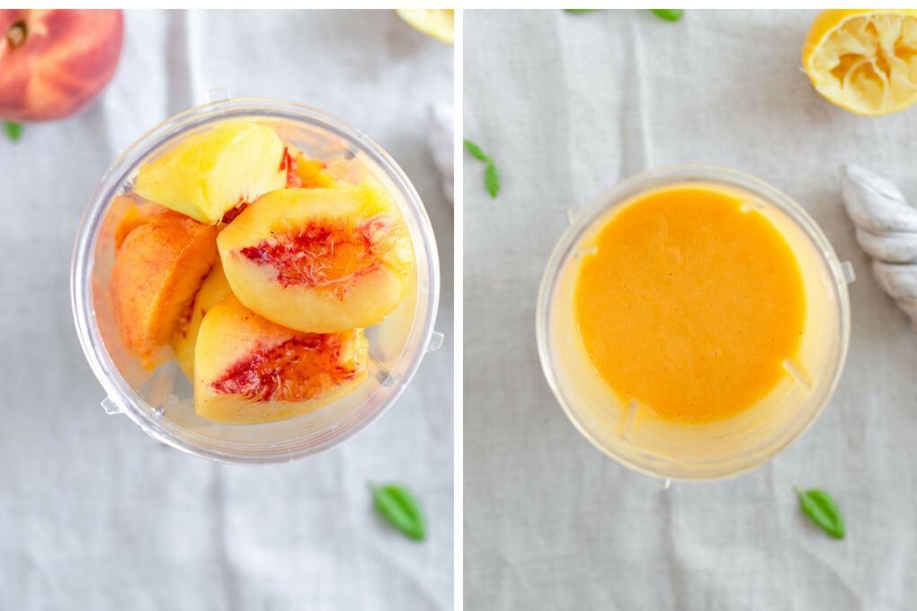 Ломтики персика в блендере до и после обработки